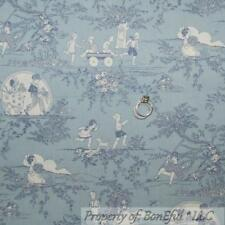 BonEful Fabric FQ Cotton Quilt Blue Baby Boy Girl Toile Central Park Dog Scenic