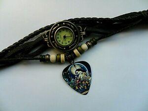 Retro Leather Bracelet   NIGHTMARE BEFORE CHRISTMAS   Quartz  Watch  Dark Brown