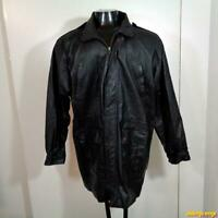 DUNCAN ROW Soft LEATHER JACKET Coat Mens Size L Black insulated