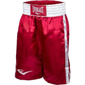 Everlast Standard Bottom of Knee Boxing Trunks - Red/White