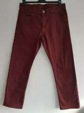 CANALI 1934 Men's Maroon Straight Leg Denim Jeans. Made In Italy. W34 × L30.
