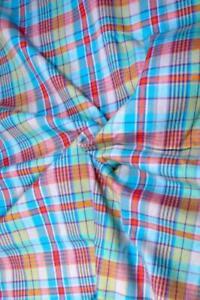 "56"" W Superb Quality Cotton Twill, Aqua & Orange Plaid, Woven, Reversible BTY"