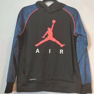 Air Jordan Youth Black Blue Kangaroo Pocket Pullover Hoodie Sweatshirt XL 13-15