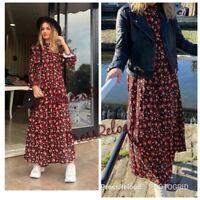 ZARA NEW FLORAL PRINT LONG FLOWING SHIRT DRESS SIZE L