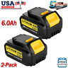 DCB206-2 For DeWalt 20V 20 Volt Max XR 6.0AH Lithium Ion Battery DCB205-2 2 Pack