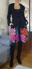 Roberto Cavalli Limited Edition Silk Flowers Embroidery Black Coat- UK 8  / IT40