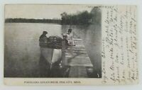 Postcard Boat Dock at Pokegama Sanatorium Pine City Minnesota 1909
