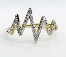 Right Hand Ring Yellow Gold Band Pave Diamonds Split Orbit Heartbeat Fashion