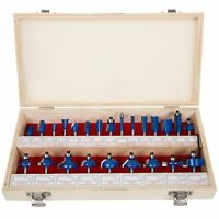 "Router Bit Set- 24 Piece Kit with ¼"" Shank and Wood Storage Case By Stalwart"