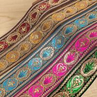 1 Roll Vintage Floral Brocade Jacquard Ribbon Trim Fringe DIY Upholstery Crafts