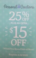 Personal Creations Coupon 25% off + $15 off $49 Expire 04/04/2021 ATLEAST $27.25