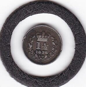 1836   King  William  IV   Penny  Halfpenny  (1.5d)   Coin  (92.5% Silver)
