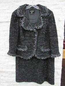 St. John Black Silver Boucle Tweed Knit Fringe Trim Jacket & Skirt Suit 14