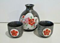 Vintage Sake Set Cherry Blossoms Flowers with 2 matching cups unused Japan Arita