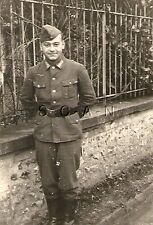 WWII German Army RP- Soldier- Uniform- Belt- Overseas Hat- Stands By Fence- 40s