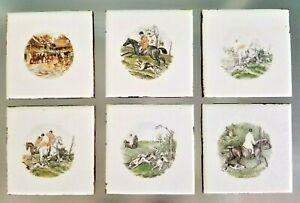 Lot of 6 Hunt Scene Tile Flamingo USA Horses, Dogs, Equestrian Tiles Vintage