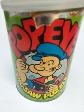 Vintage Popeye Olive Oyl Tin Can with 49 Piece Puzzle