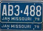 "MISSOURI passenger 1979 license plate *PAIR* ""AB3-488"" ***PAIR***MINT***"
