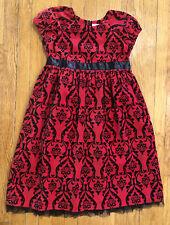 Hanna Andersson Red Black Velvet Christmas Dress - Girls 150 11-13 Years