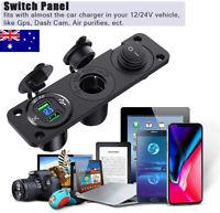 12V-24V Dual Car Cigarette Lighter Plug Socket Dual USB Port Charger Voltmeter