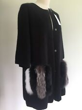Cashmere Coat Cardigan Real Fox Fur Pockets Large Sable Mink Cashmere Fur