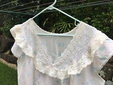 Vintage Ladies Nightdress Nightie Size  18 - 20 Lace Cap Sleeves Pastel Floral