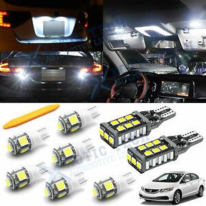 White LED Interior + Reverse Light Package Kit For Honda Civic 2013 - 2020 tool