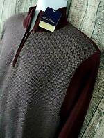 Alan Flusser Mens Pullover 1/4 Zip Sweater Shirt Sz M Burgundy Red Cotton NEW