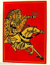 Vtg Unused Medieval Xmas Card Sir Gawain & Green Knight w Holly Diana Sudyka