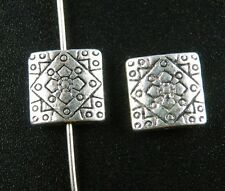 35Pcs Tibetan Silver Square-Flower Spacer Beads Charms 10x10mm 9637
