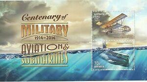 2014 AUSTRALIA MNH STAMP MINI SHEET 'CENTENARY MILITARY AVIATION & SUBMARINES'