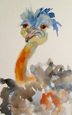 Ostrich bird collectible watercolor 9x6 painting Art by Delilah