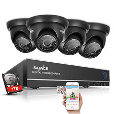 SANNCE 4CH 1080N  HD DVR 720P TVI Home Security Camera System 1TB Remote Access