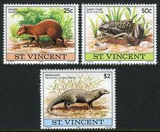 St Vincent 608-610, MNH. Agouti, Giant toad, Mongoose, 1980