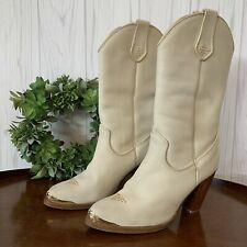 Vintage Women's Leather Zodiac Boots Cream With Gold Toe Accents Size 8M