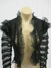 ISABEL MARANT Black Cotton & Silk Open Jacket w/Ruffles & Lace - 40 - NWT $1105