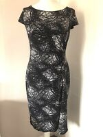 M&S Woman Navy White Stretch Wiggle Pencil Dress Size 14 Short Sleeves Ruched