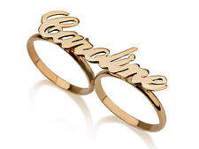 10k Solid Yellow Gold Two Finger Trendy Personalized Name Ring