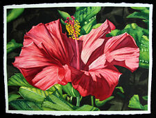 Hibiscus 4, Flower, Garden, Red, Original Watercolor Painting, Signed, Wall Art