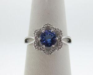 NEW Natural Tanzanite Diamonds Solid 18k White Gold Ring FREE Sizing