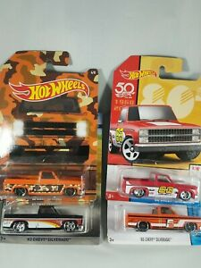 Hot Wheels - Lot of 4 83 Silverado Orange Fram / 100 Years / 50 th & Camo Series