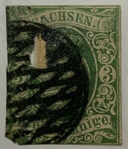 1850's SAXONY IMPERF STAMP WITH UNIQUE WOVEN CANCEL