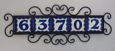 5 BLUE Mexican Ceramic Number Tiles & Horizontal Iron Frame