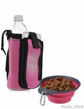 NEW Insulated Neoprene Pink Bottle Holder with Travel Cup Bowl for Dogs by Dexas