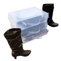 Ladies Knee High Boot Stackable Plastic Shoe Box Storage Foldable, Transpar G2F7