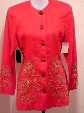 NWT ANNE FRENCH Size 8 Red Linen Blazer Gold Embroidery Evening Career Jacket