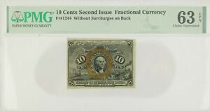 10 Cents Second Issue Fractional Currency Fr#1244, PMG Certified UNC 63 EPQ