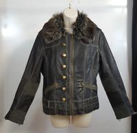 Artifacts Womens M Bomber Jacket Black Faux Leather Fur Trim Zip Up Coat Petite