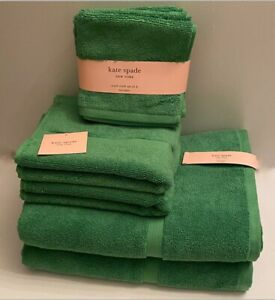 KATE SPADE Harrington 8 Piece Green Bathroom Towel Set Solid 100% Cotton NEW