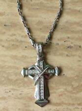 "Vintage Rhinestone Silver Cross Diamond Accent Necklace Large Pendant 3"" Jewelry"